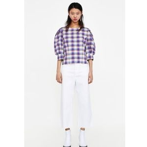 Colored check blouse with balloon sleeves S